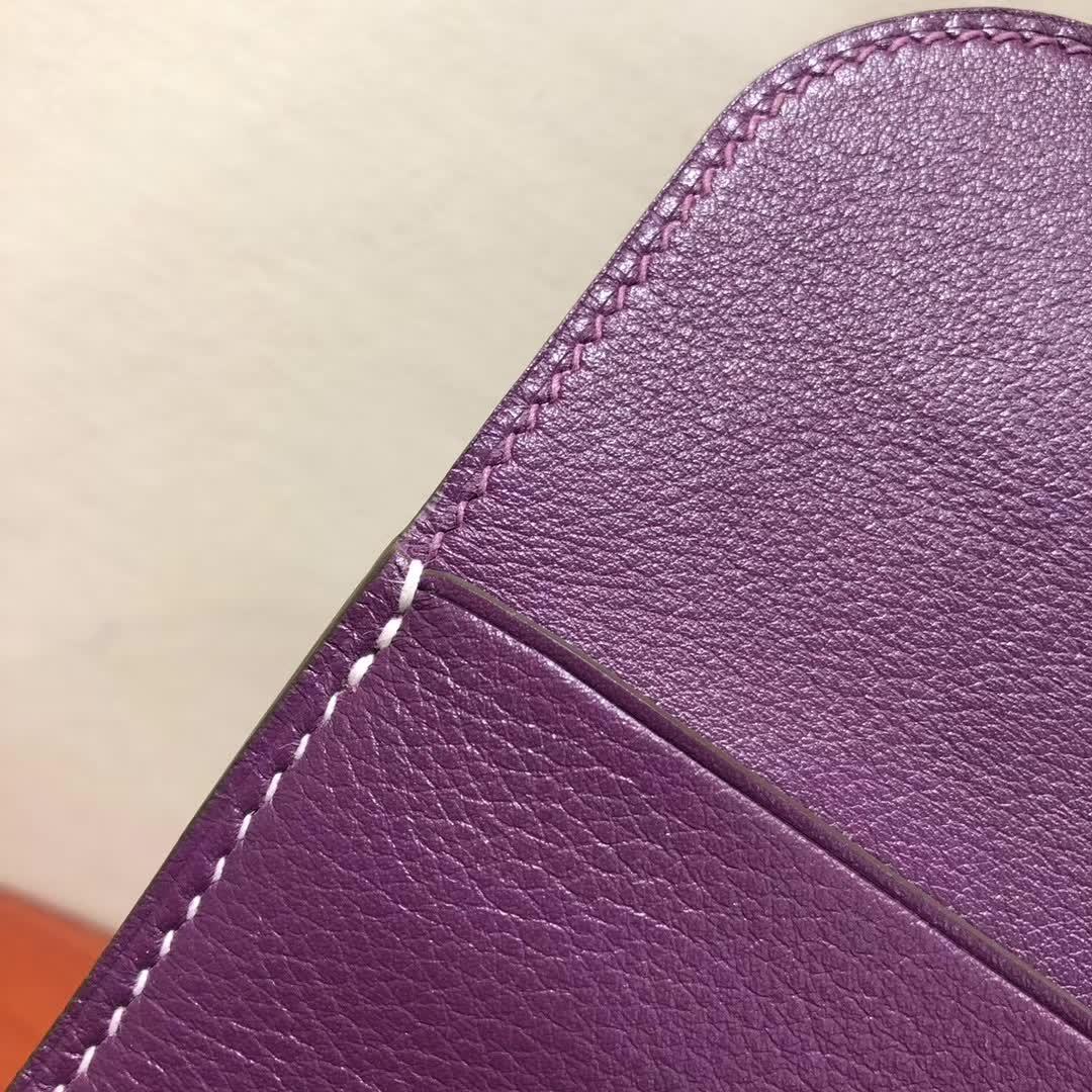 爱马仕包包批发 Halzan Mini 22cm Swift P9 Anemonb 海葵紫 白线 银扣 手缝蜡线