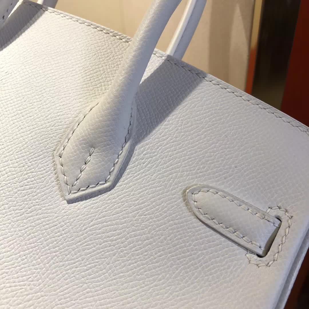 爱马仕铂金包 Birkin25cm Epsom 01 Blanc 纯白 金扣 顶级工艺 纯缝蜡线 小可爱 很能装