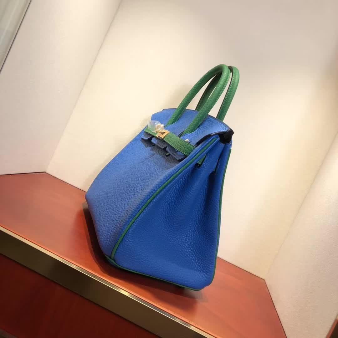 Hermes包包 爱马仕铂金包 Birkin 25cm Tc 7Q Mykonos 希腊蓝拼 1K Bamdou 竹子绿 金扣