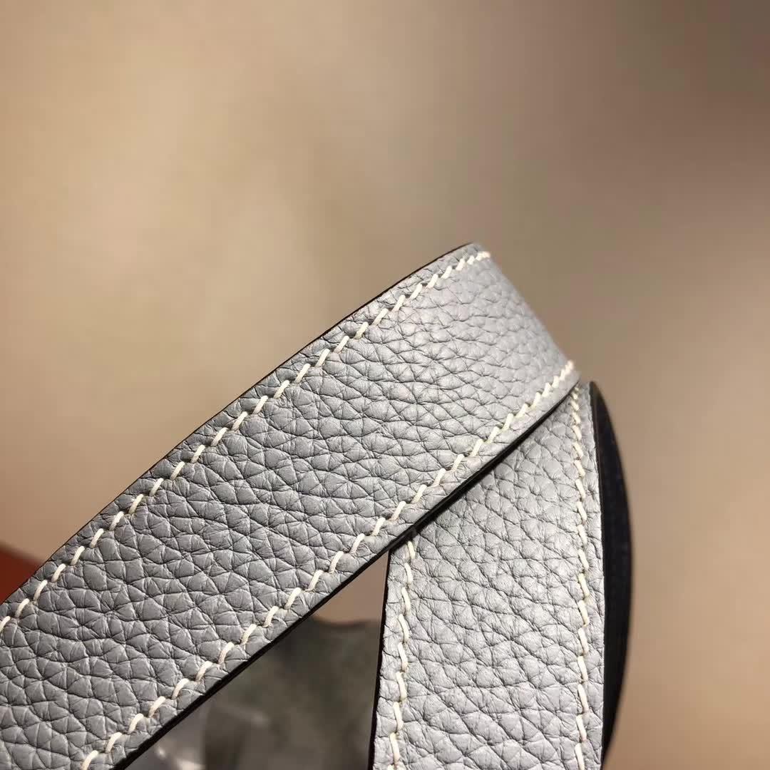 爱马仕菜篮子 Picotin Lock 18cm TC J7 Blue Lin 亚麻蓝 银扣 顶级工艺 纯手缝蜡线