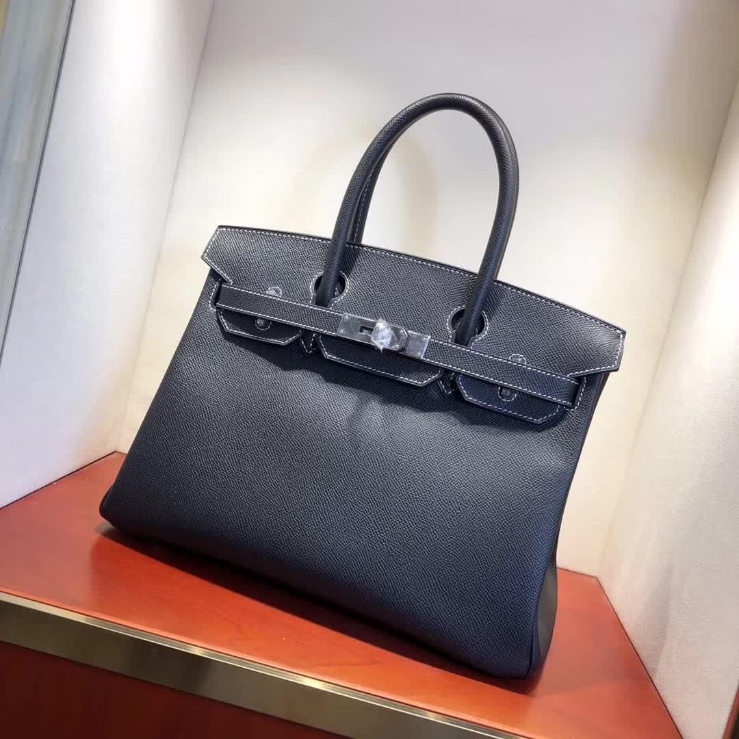 Hermes包包 爱马仕铂金包 Birkin 30cm Epsom 89 Noir 黑色 白线银扣 手缝蜡线顶级工艺