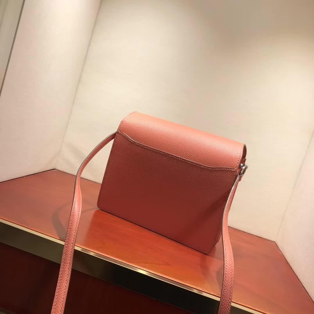 爱马仕猪鼻子包 Roulis 19cm Epsom L5 Crevette 龙虾粉 银扣 手缝蜡线顶级工艺