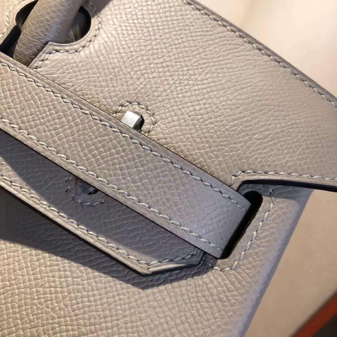Hermes包包 爱马仕铂金包 Birkin 30cm Epsom S2 Trench 风衣灰 银扣 手缝蜡线顶级工艺
