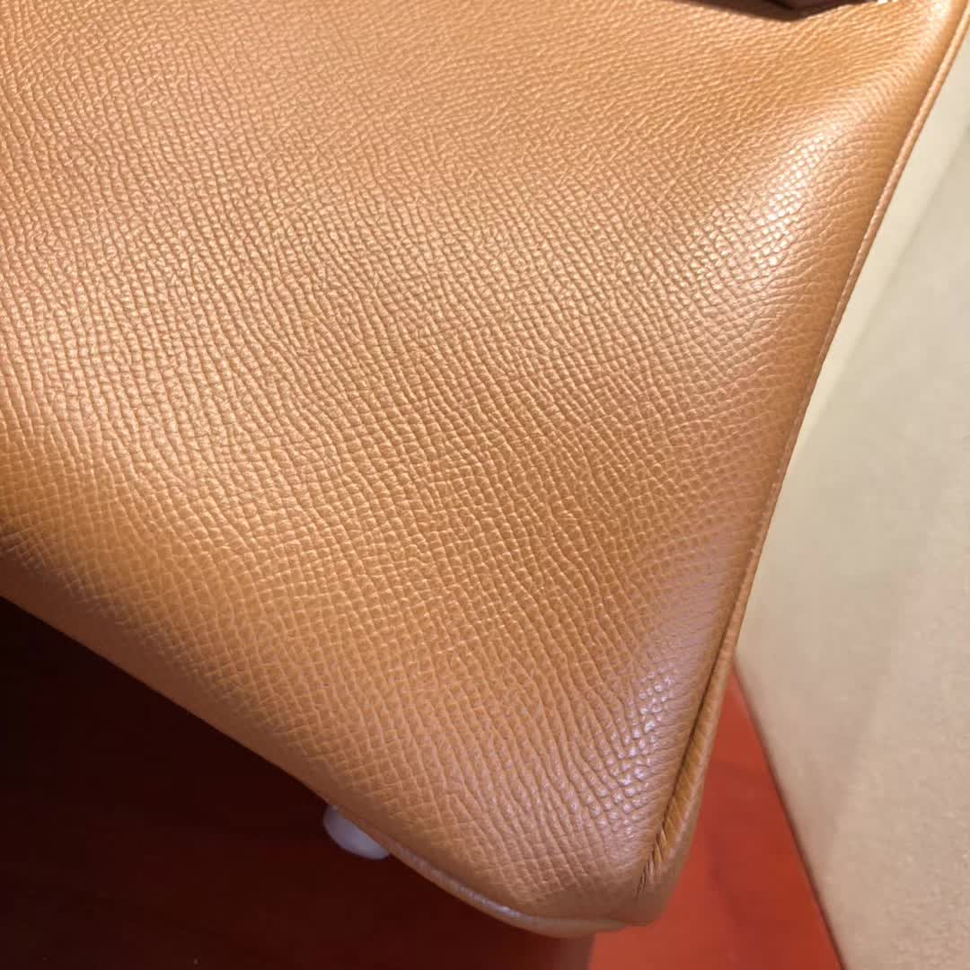 Hermes包包 爱马仕铂金包 Birkin 30cm Epsom 37 Gold 金棕 银扣 手缝蜡线顶级工艺