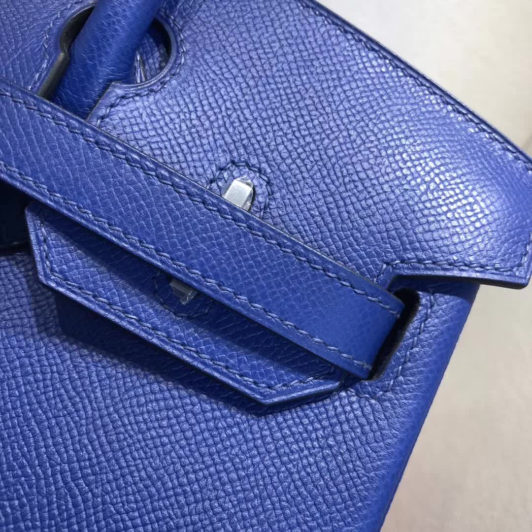 Hermes包包 爱马仕铂金包 Birkin 30cm Epsom T7 Blue Htdra 电光蓝 银扣 手缝蜡线顶级工艺