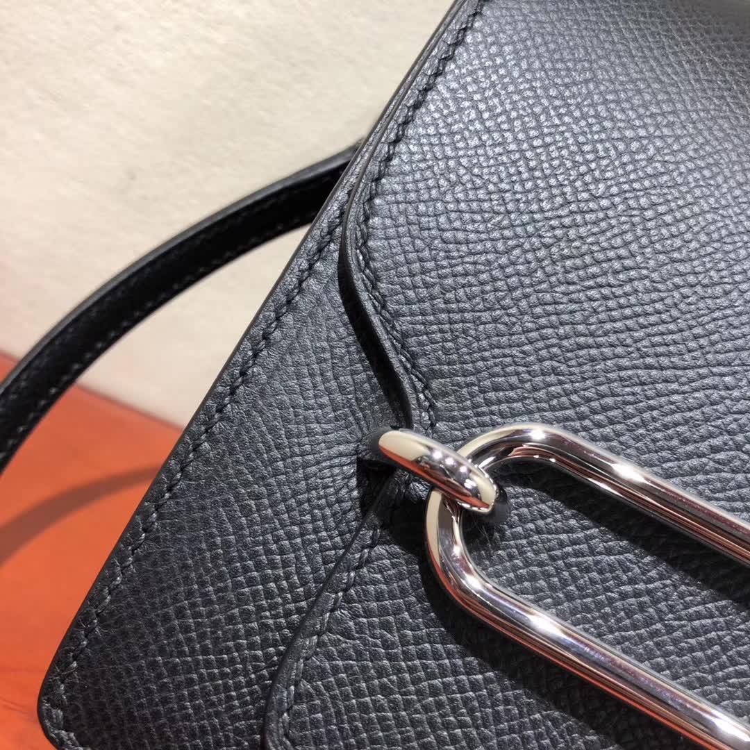 爱马仕猪鼻子包 Roulis 19cm Epsom 89 Noir 黑色 银扣 手缝蜡线顶级工艺