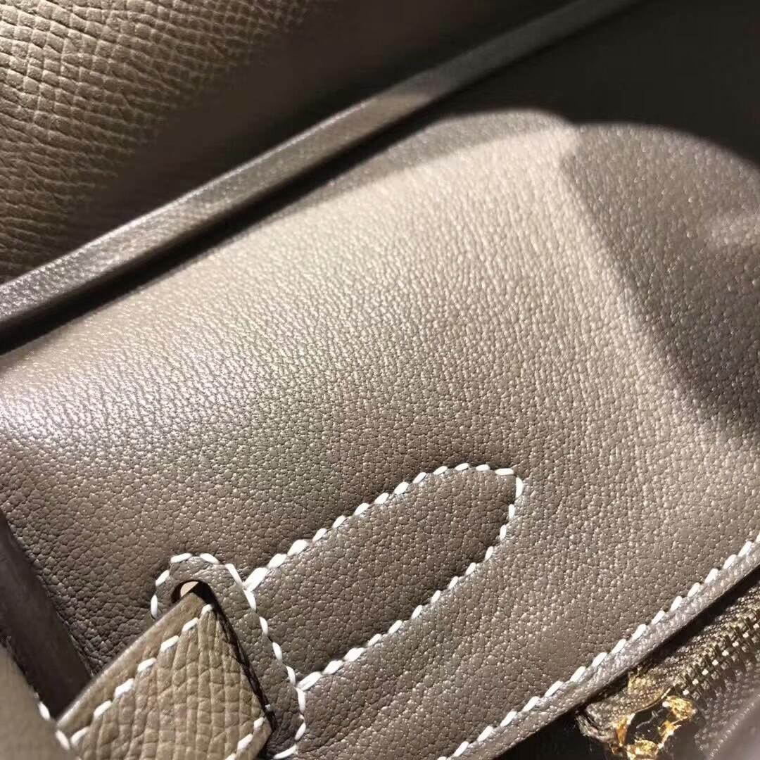 Hermes铂金包 Birkin30cm Epsom 18 Etoupe 大象灰 金扣 纯手缝蜡线