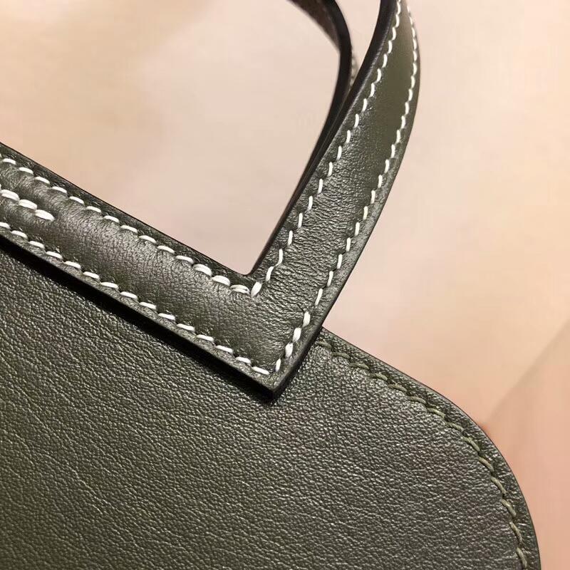 广州包包厂家 Halzan Mini 22cm Swift 67 Vert Fonce 深军绿 银扣 顶级工艺 手缝蜡线