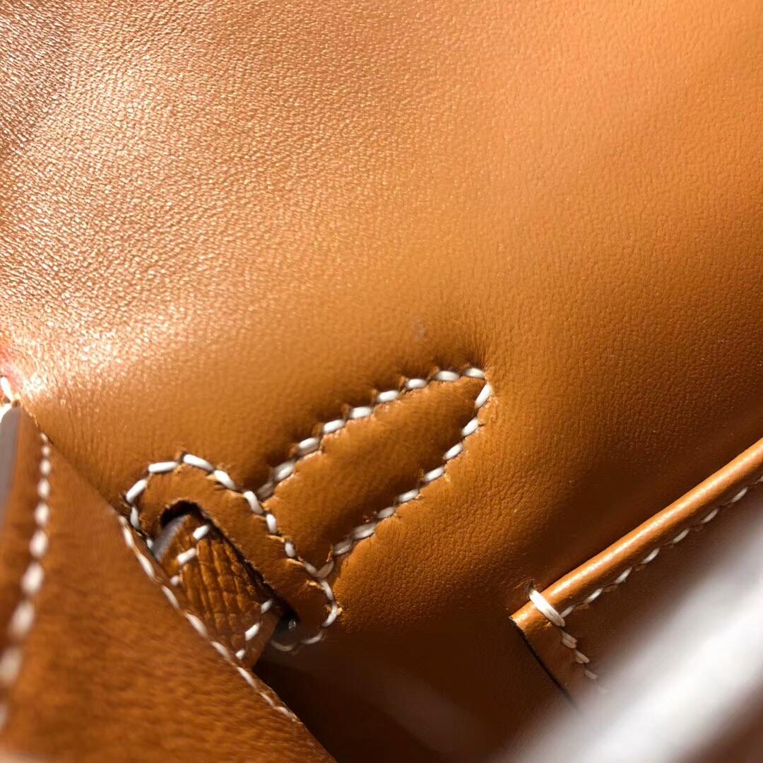 Hermes爱马仕 Mini Kelly2代 19cm Epsom 37 Gold 金棕 银扣 网红必备神器