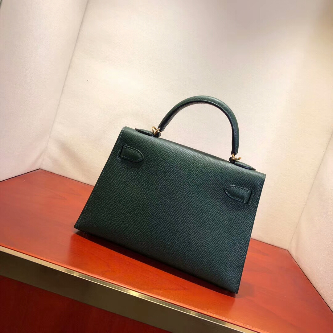 Hermes爱马仕 Mini Kelly2代 19cm Epsom 2Q Vert Anglais 英国绿 金扣 网红必备神器