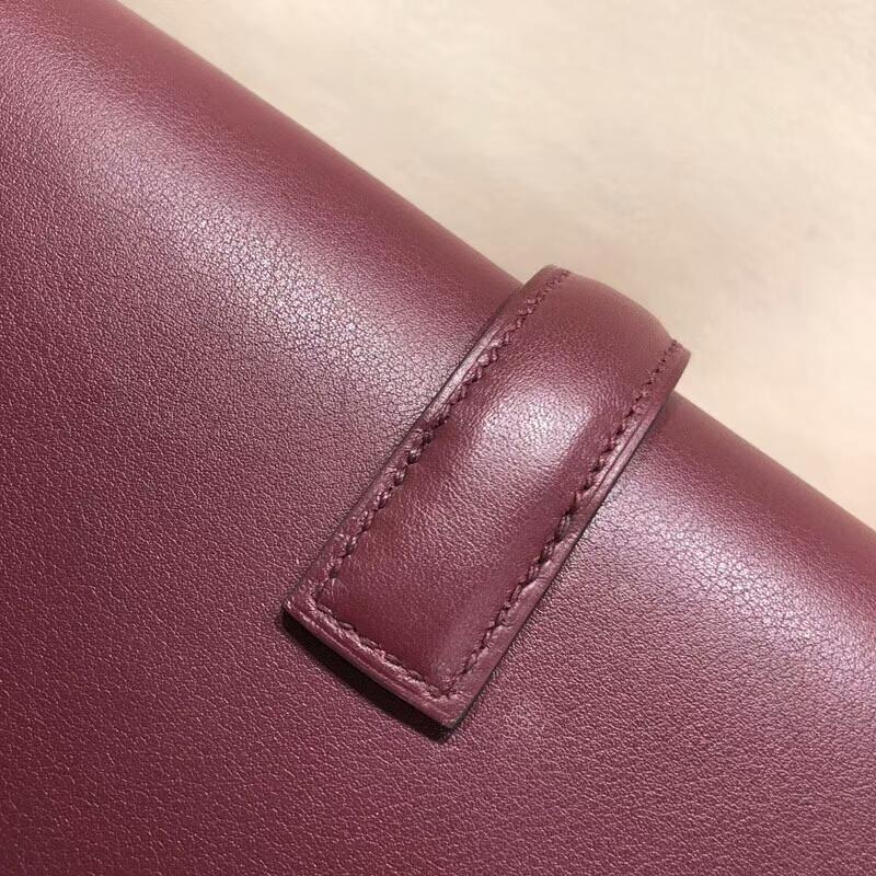 爱马仕钱夹手包 Jige Gm 29cm Swift 57 Bordeaux 波尔多酒红 顶级工艺 手缝蜡线
