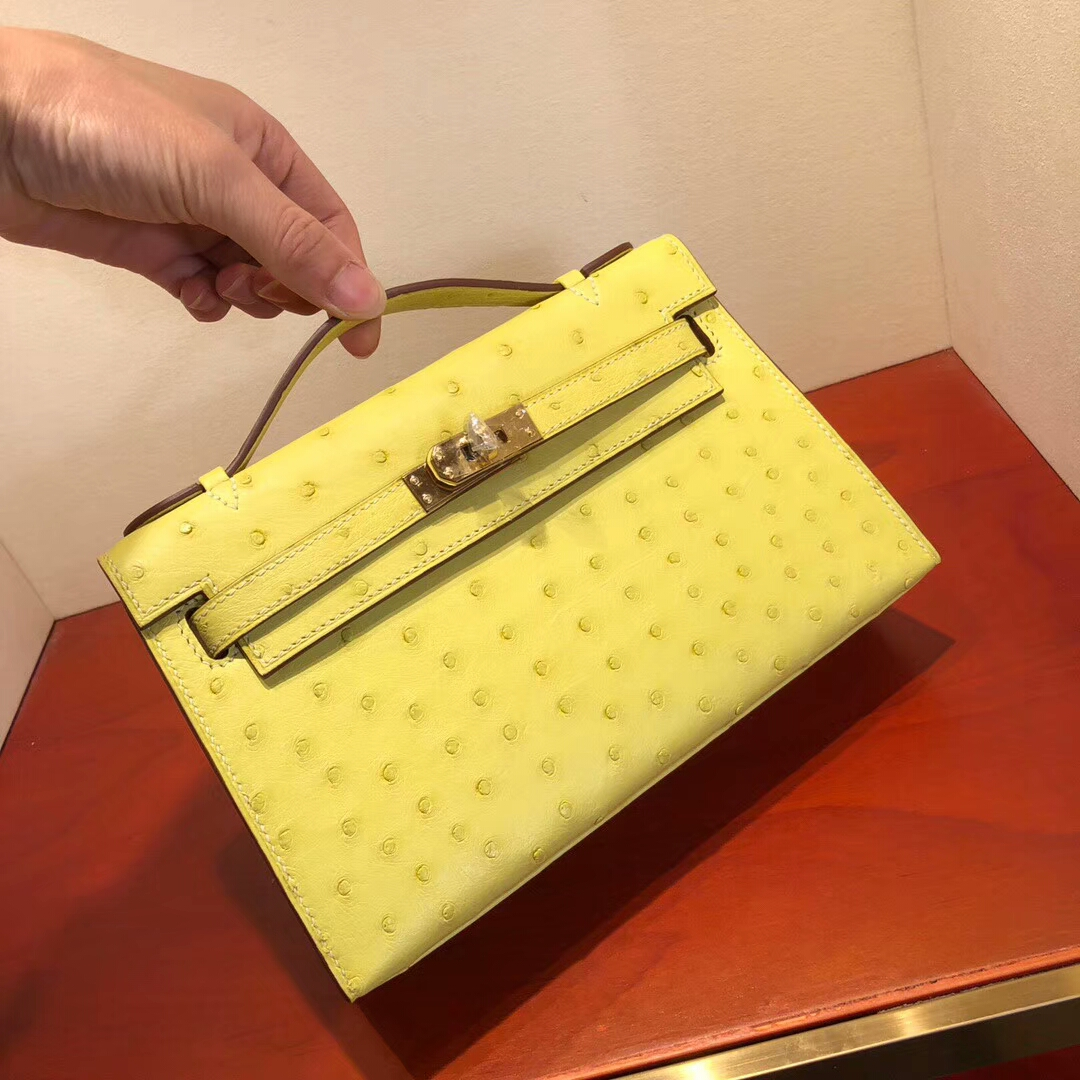 广州爱马仕包包 Mini Kelly Pochette 22cm Ostrich Leather C9 Soupre 鹅蛋黄 金扣 纯手缝蜡线