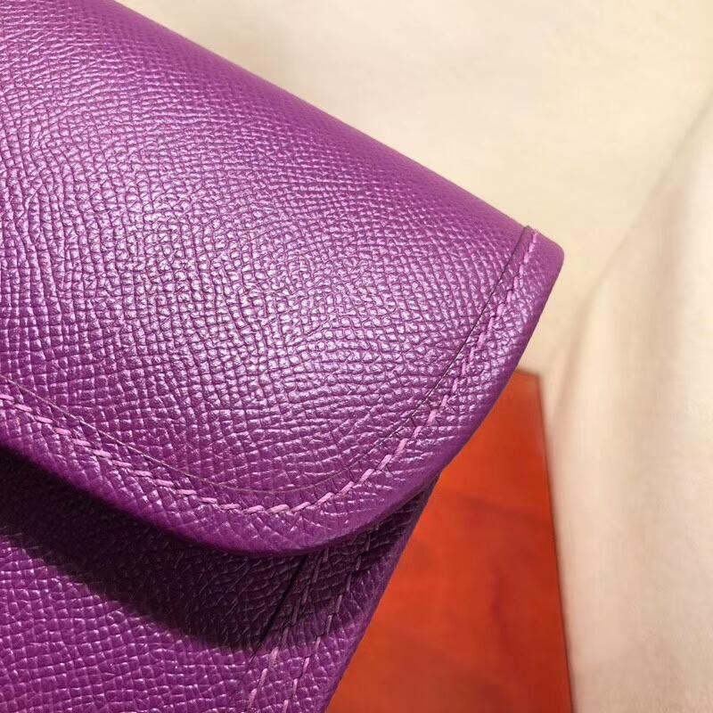 爱马仕钱夹手包 Jige Gm 29cm Epsom P9 Anemonb 海葵紫 顶级工艺 手缝蜡线