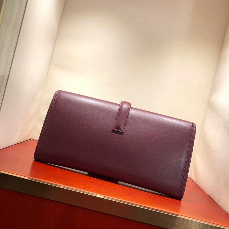 爱马仕钱夹手包 Jige Pm 29cm Epsom 57 Bordeaux 波尔多酒红 顶级工艺 手缝蜡线