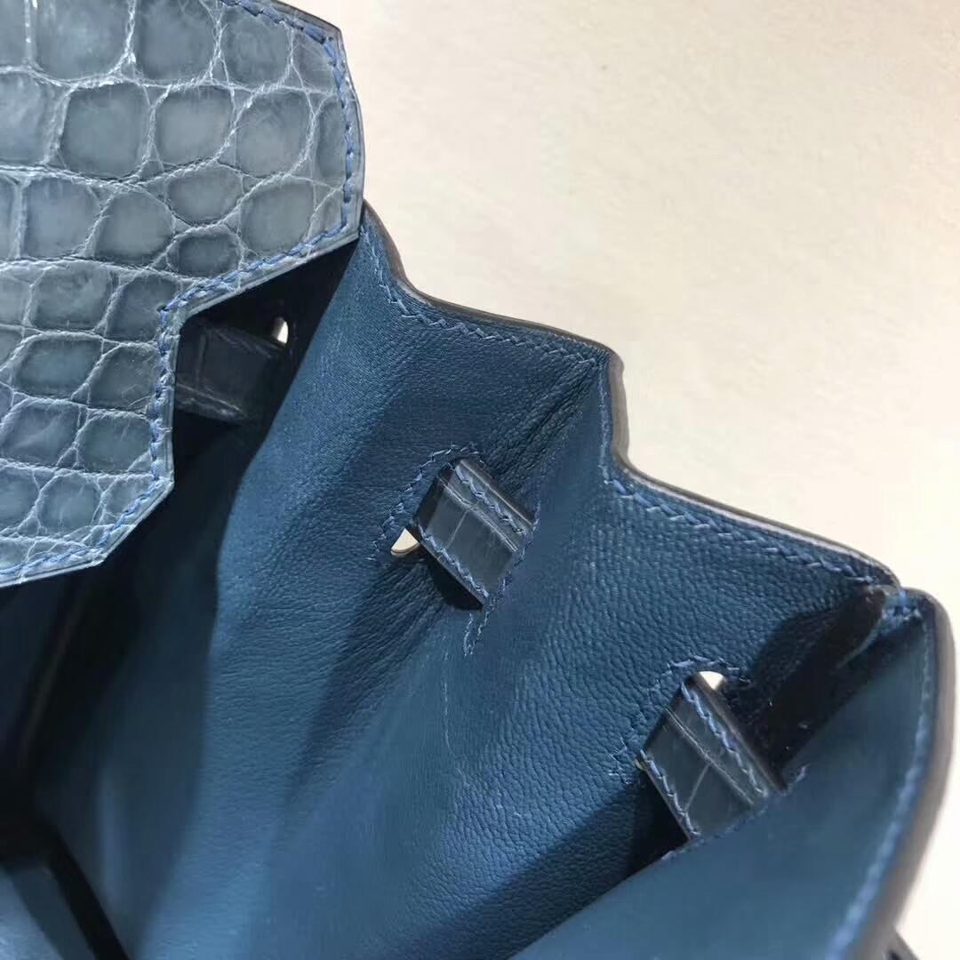 爱马仕铂金包 Birkin30cm Shiny Niloticus 亮面尼罗两点 75 Blue Jean 牛仔蓝 银扣 顶级工艺 纯缝蜡线