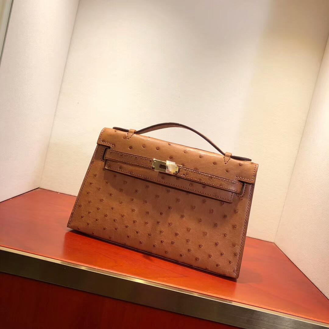 广州爱马仕包包 Mini Kelly Pochette 22cm Ostrich Leather 37 Gold 土黄 金扣 纯手缝蜡线