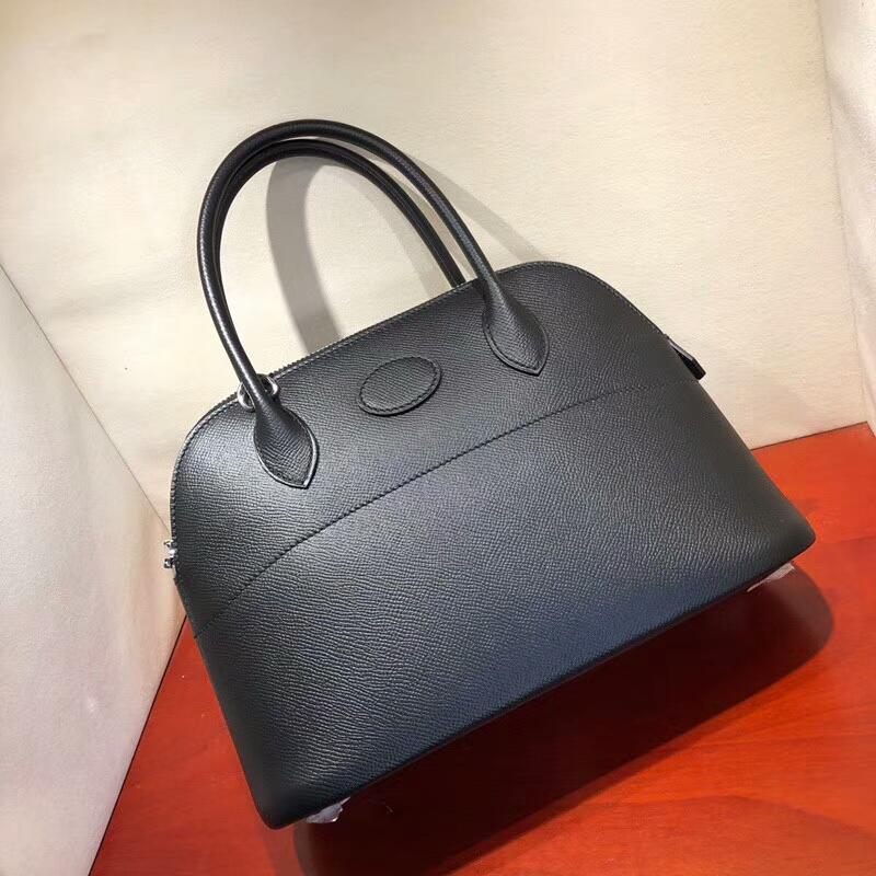 爱马仕包包批发 Bolide 27cm Epsom89 Noir 黑色 银扣 顶级工艺