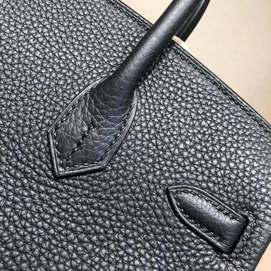 爱马仕铂金包 Birkin25cm Togo 89 Noir 黑色 银扣 必不可少的经典款