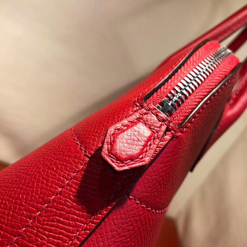 爱马仕包包批发 Bolide 27cm Epsom Q5 Rouge Casaqbe 国旗红 银扣 顶级工艺