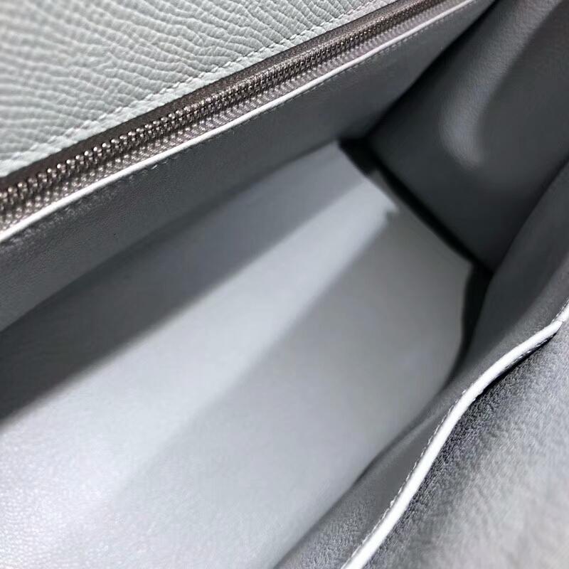 爱马仕包包批发 Kelly 28cm Epsom 8U Glacierw 冰川蓝 冰川灰色 银扣 手缝蜡线
