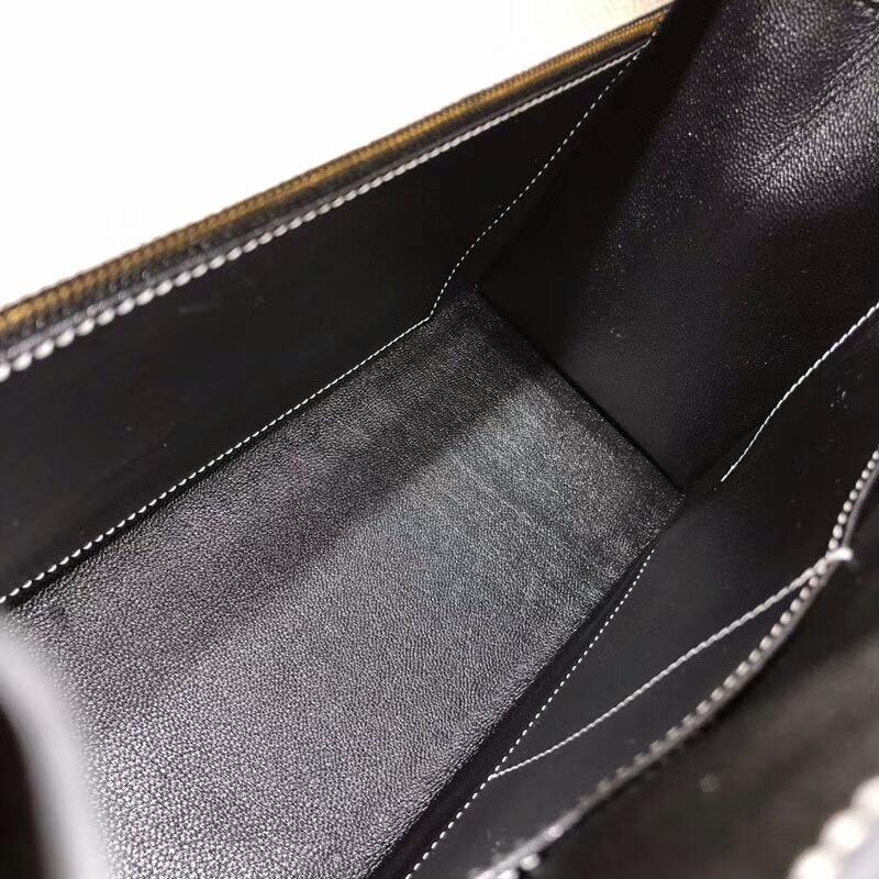 爱马仕包包批发 Kelly 28cm Epsom 10 Craie 奶昔白拼 89 Noir 黑色 金扣 手缝蜡线