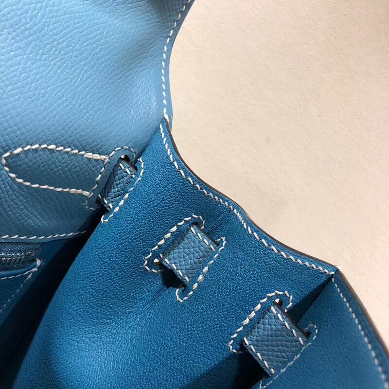 爱马仕包包批发 Kelly 28cm Epsom 75 Blue Jean 牛仔蓝 银扣 手缝蜡线