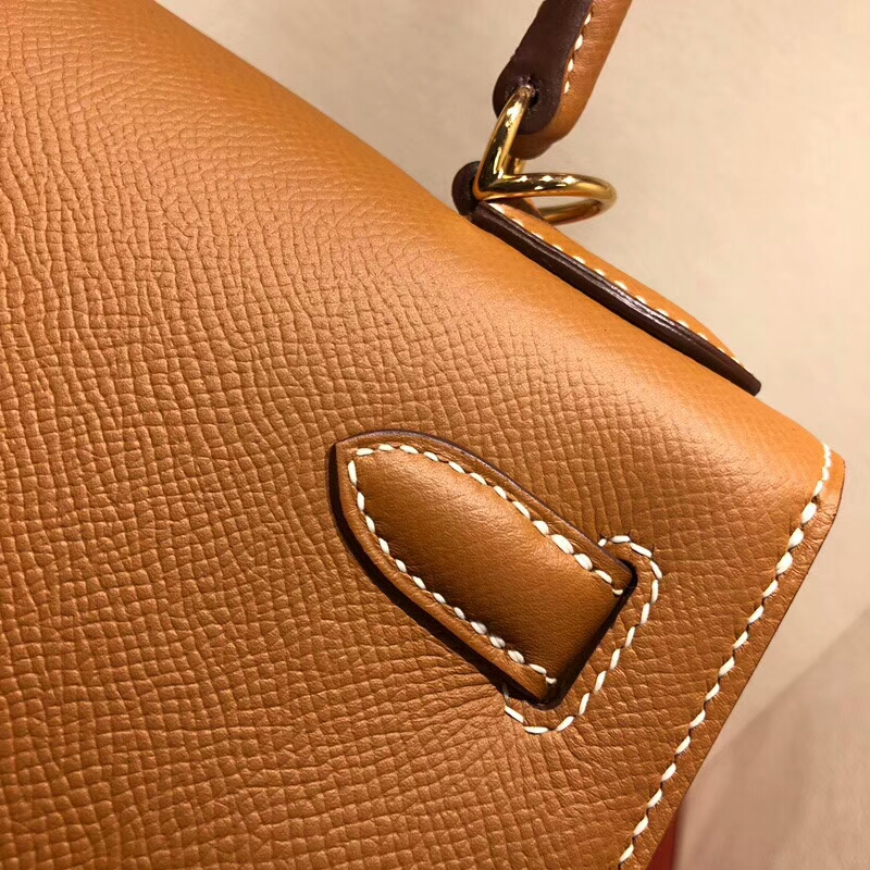 爱马仕包包批发 Kelly 28cm Epsom 37 Gold 金棕 金扣 手缝蜡线