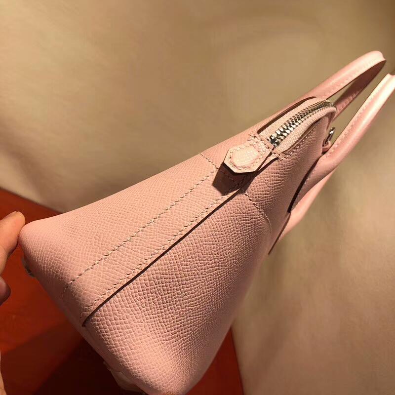 爱马仕包包批发 Bolide 27cm Epsom 3Q Rose Sakura 芭比粉 银扣 顶级工艺