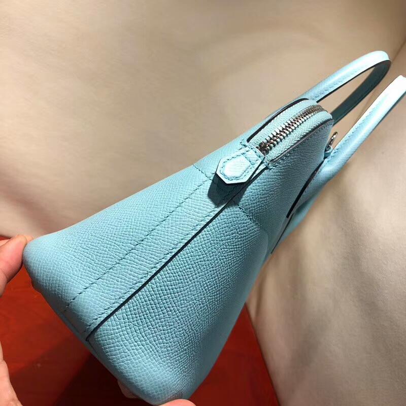 爱马仕包包批发 Bolide 27cm Epsom 3P Blue Atoll 马卡龙蓝 银扣 顶级工艺