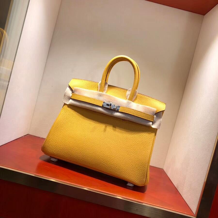 爱马仕铂金包 Birkin25cm Togo9D Jaune Amber 琥珀黄 银扣 必不可少的经典款