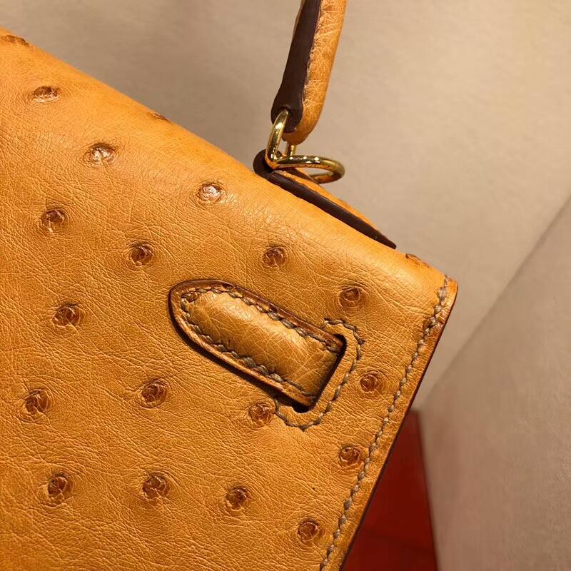 爱马仕凯莉包 Kelly 25cm Ostrich Leather 9D Jaune Amber 琥珀黄 金扣 可以搭配Sangle Cavale肩带