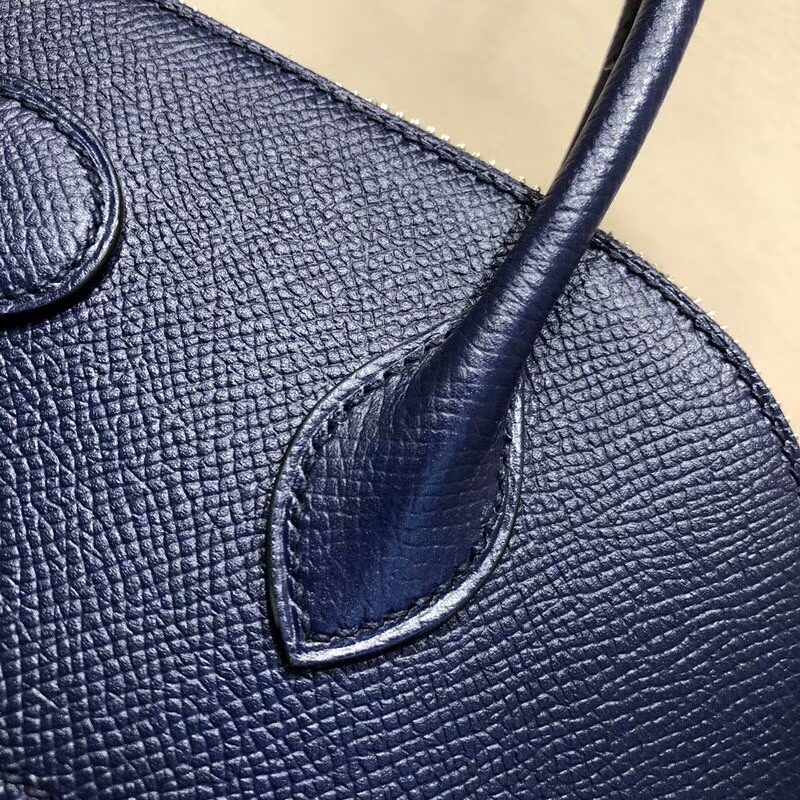 爱马仕包包批发 Bolide 27cm Epsom 73 Blue Saphir 宝石蓝 银扣 顶级工艺