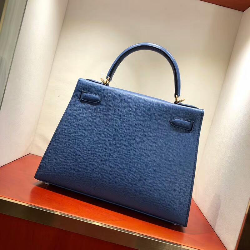 爱马仕包包批发 Kelly 28cm Epsom R2 Blue Agate 玛瑙蓝 金扣 手缝蜡线