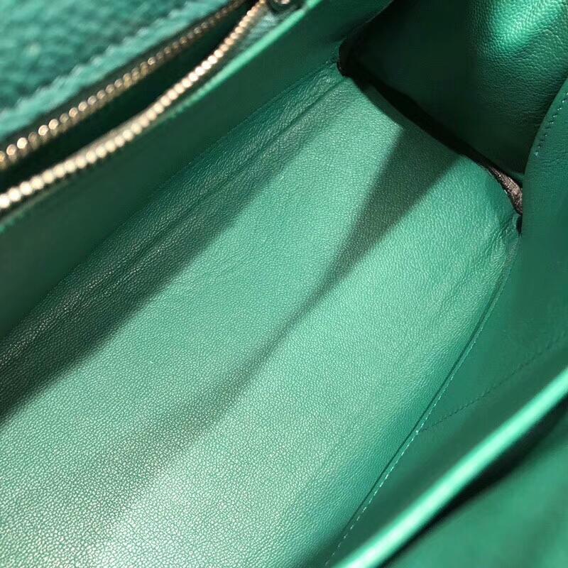 爱马仕包包 Kelly 28cm Togo Z6 Malachite 孔雀绿 银扣 手缝蜜蜡线