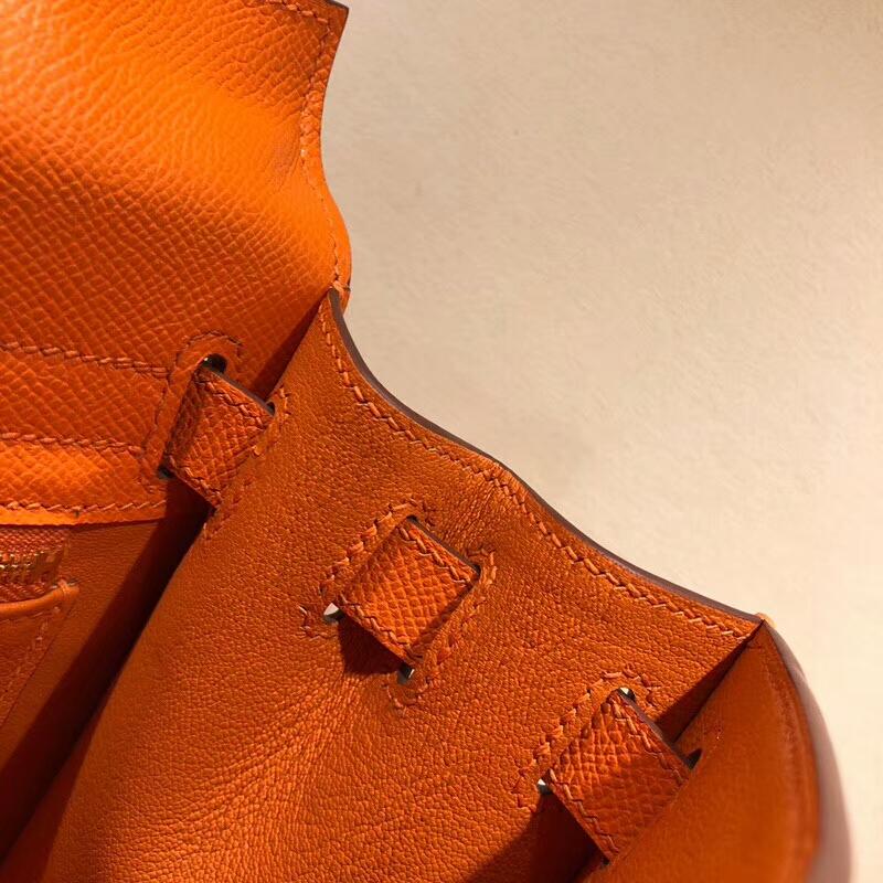 爱马仕包包批发 Kelly 28cm Epsom 93 Orange 橙色 金扣 手缝蜡线