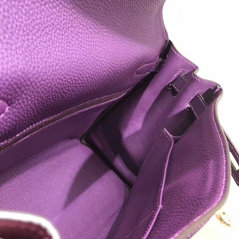 爱马仕包包 Kelly 28cm Togo P9 Anemonb 海葵紫 金扣 手缝蜜蜡线