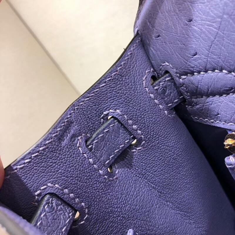 爱马仕凯莉包 Kelly 25cm Ostrich Leather 9P Parme 薰衣草紫 金扣 可以搭配Sangle Cavale肩带