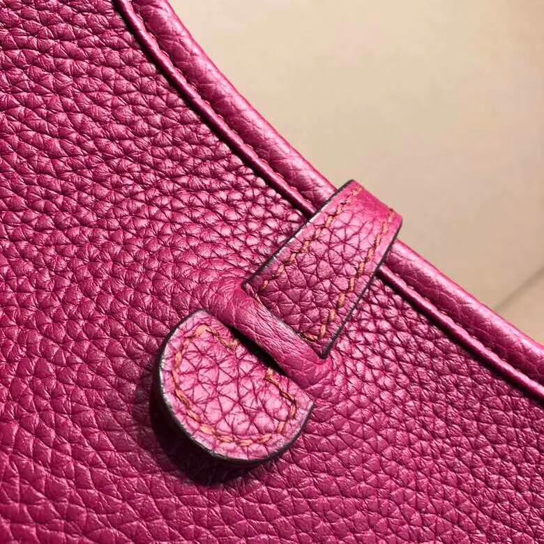 爱马仕包包 Evelyne伊芙琳 16cm Clemence K5 Tosca 托斯卡紫 银扣 流行迷你爆款