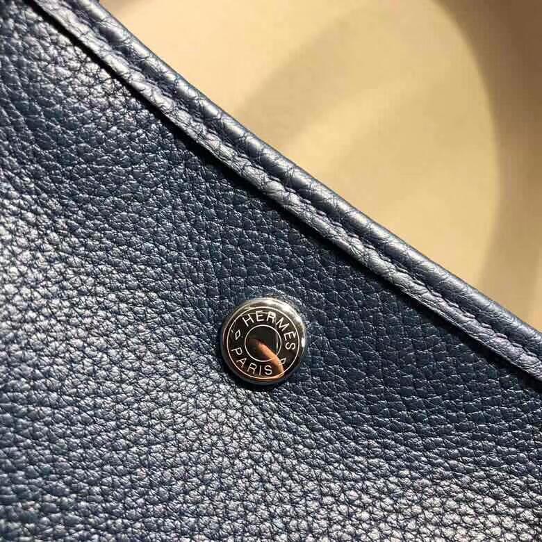 爱马仕花园包 Garden Party 36cm Negonda 73 Blue Saphir 宝石蓝 银扣 顶级工艺手缝蜡线