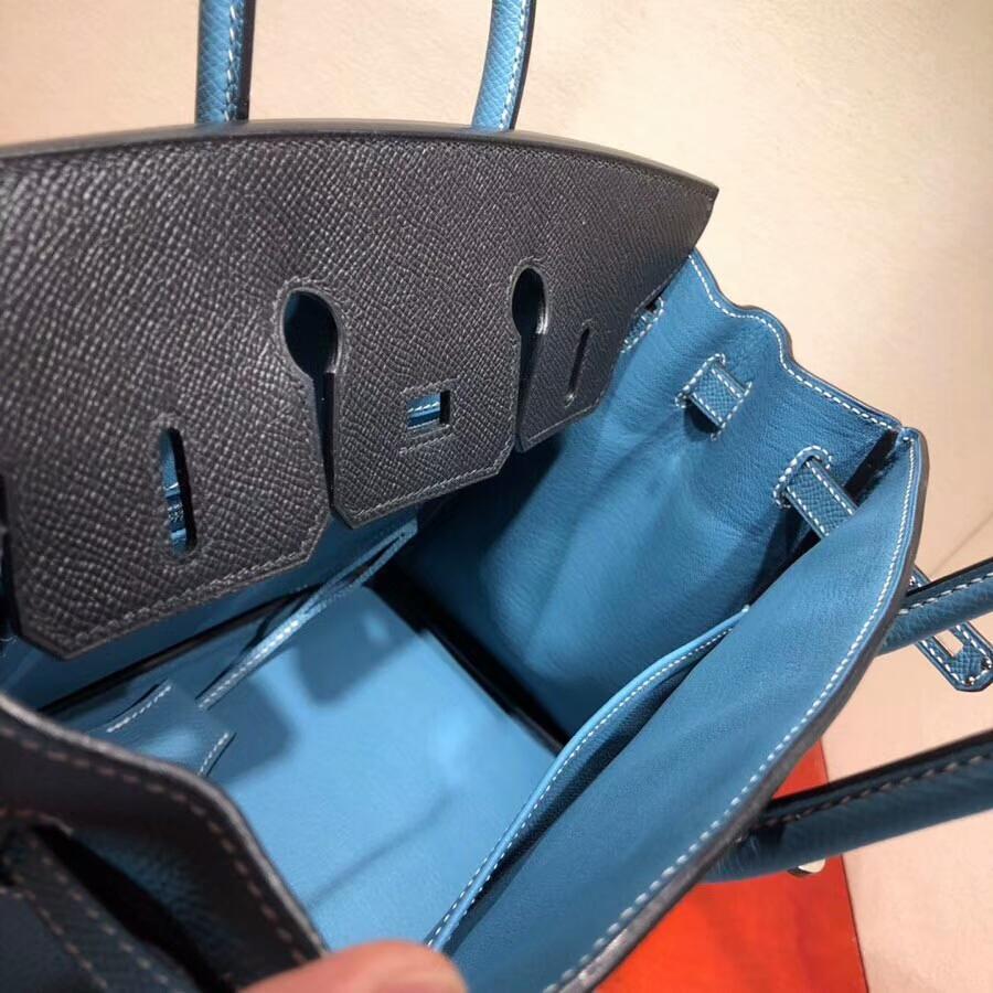 爱马仕铂金包 Birkin 25cm Epsom 89 Noir 黑色拼75 Blue Jean 牛仔蓝 银扣 H家进入全新拼色时代