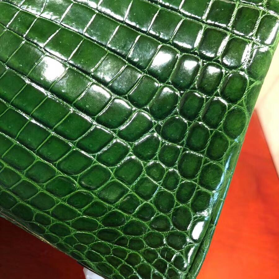 Hermes爱马仕 Birkin铂金包 25cm Shiny Niloticus Crocodile 亮面两点尼罗鳄 6Q Vert Bengale 祖母绿 银扣