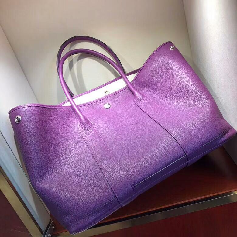 爱马仕花园包 Garden Party 36cm Negonda P9 Anemonb 海葵紫 银扣 顶级工艺手缝蜡线