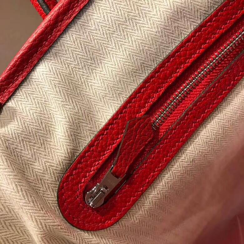爱马仕花园包 Garden Party 36cm Tc S5 Rouge Tomate 番茄红 银扣 顶级工艺手缝蜡线