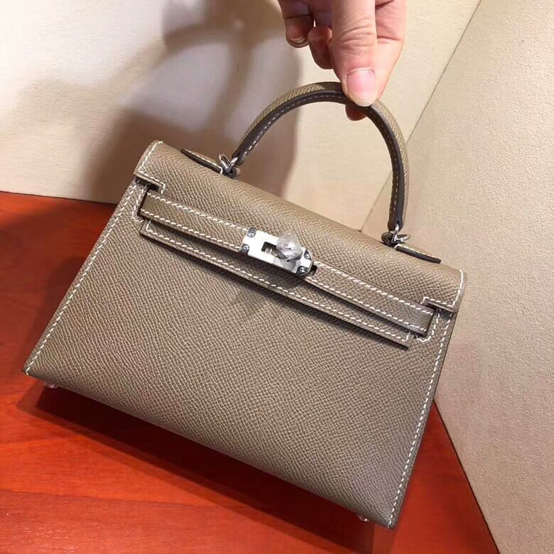 爱马仕包包 Mini Kelly二代 19cm Epsom 18 Etoupe 大象灰 银扣 顶级工艺 手缝蜡线