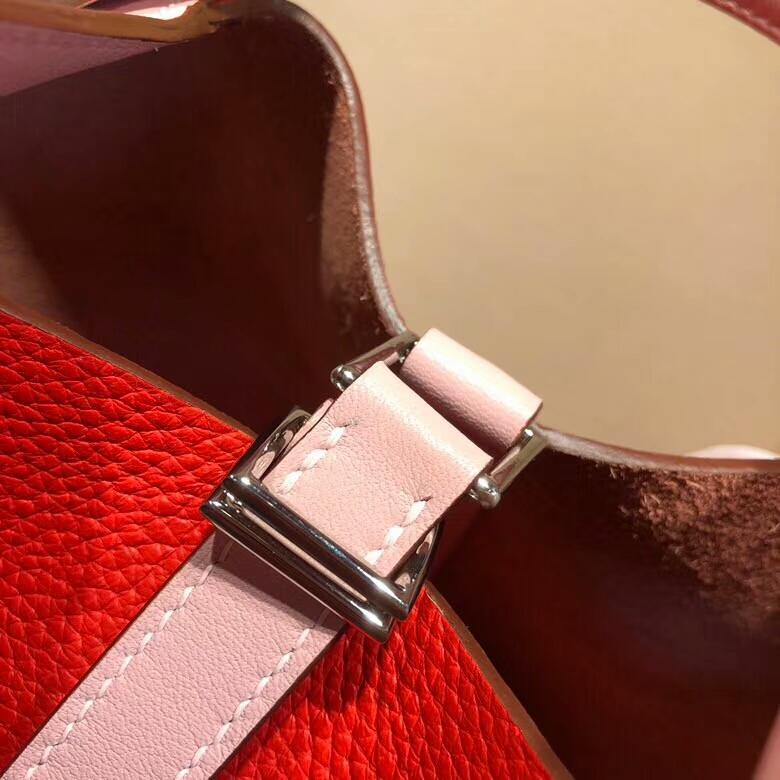 爱马仕菜篮子 Picotin Lock 18cm Clemence S5 Rouge Tomate 番茄红拼 3Q Rose Sakura 芭比粉 银扣