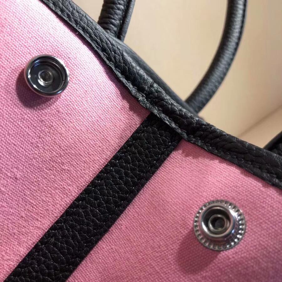 爱马仕花园包 Garden Party 30cm Tc拼帆布 89 Noir 拼 5P Pink 樱花粉 银扣 顶级工艺手缝蜡线