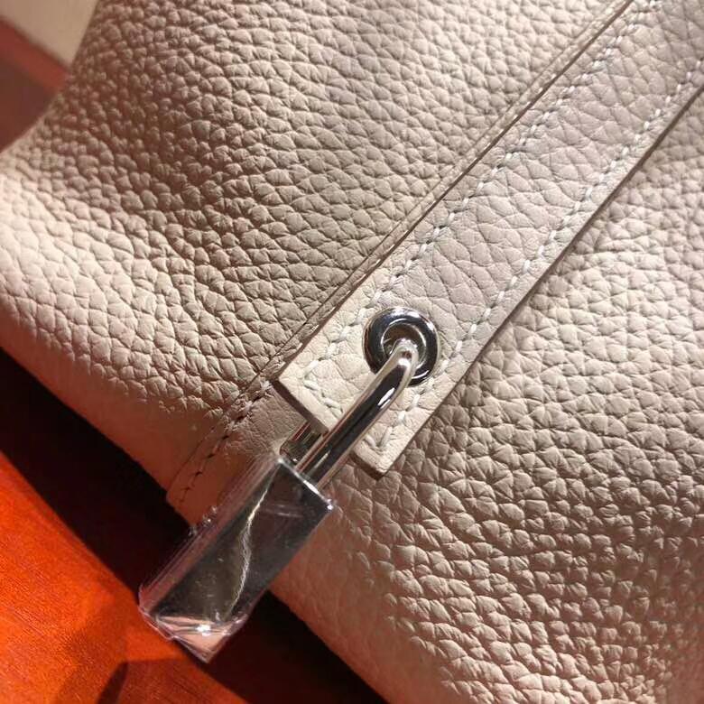爱马仕菜篮子 Picotin Lock 18cm Clemence 10 Craie 奶昔白 银扣 回头率百分百