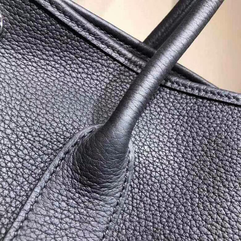 爱马仕花园包 Garden Party 36cm Negonda 89 Noir 黑色 银扣 顶级工艺手缝蜡线