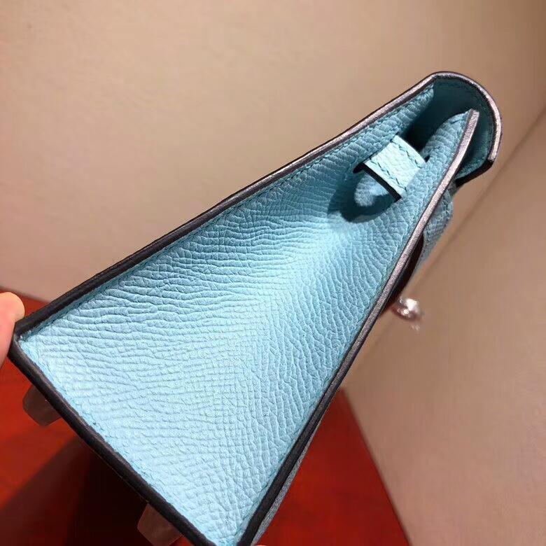 爱马仕包包 Mini Kelly二代 19cm Epsom 3P Blue Atoll 马卡龙蓝 银扣 顶级工艺 手缝蜡线