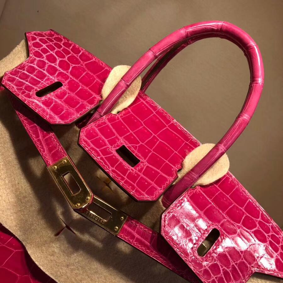 Hermes爱马仕 Birkin铂金包 25cm Shiny Niloticus Crocodile 亮面两点尼罗鳄 5J Fuchsia 桃粉色 金扣